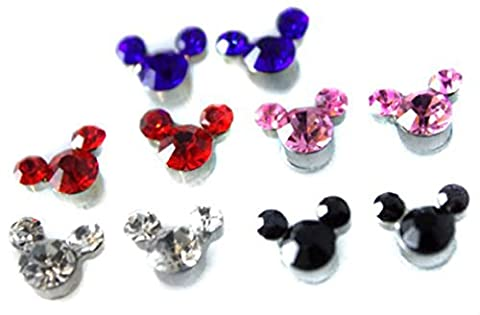 SET Cute Mickey Crystal Girls Kids Magnetic Clip-on Earrings Colourful Childrens - Magnetic Orecchini
