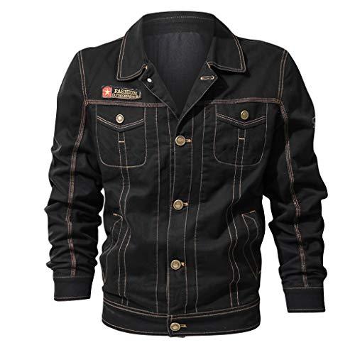 Aoogo Herren Vintage Zipper Stehkragen Jacke, Herbst Mann Langarm einfarbig lässig Taschen Mantel Outwear