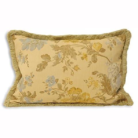 Paoletti Berkshire Floral Chenille Jacquard Woven Boudoir Cushion Cover, Gold, 40 x 60 Cm