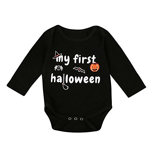 EROSPA® Baby Body Halloween Kürbis Strampler mit Schriftzug My First Halloween Fledermaus Hexe Unisex Mädchen Jungen Schwarz Gr. 80