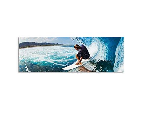 Leinwandbild Panorama Surfer auf der Welle auf Leinwand und Keilrahmen. Beste Qualität, handgefertigt in Deutschland! 150x50cm