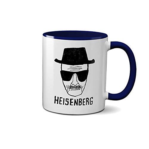 Breaking Bad Heisenberg Art Sketch Blaue Innenseite und Griff Teetasse Weiße Kaffeetasse Keramik 312ml