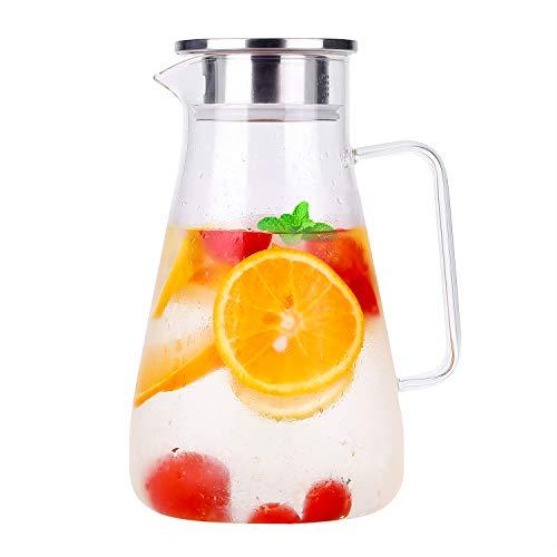 1800ml Karaffe Glas Krug Krug Bleifrei Borosilikatglas Wasserkocher mit Kristallgriff und Edelstahl...