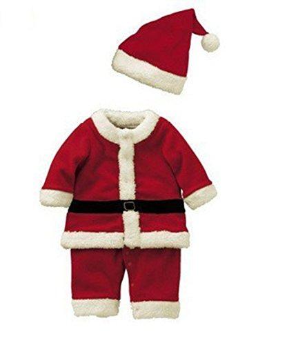 Anik Sunny Baby Ragazzi Tuta di Babbo Natale con Cappello, Baby Party Outfit Costume da Babbo Natale Outfit Set
