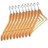 Kleiderbügel Holz 10 Stück natur – Klassische Holzkleiderbügel schaffen endlich Ordnung im Schrank und an der Garderobe – Holzbügel aus Ahorn extrem robust und stabil