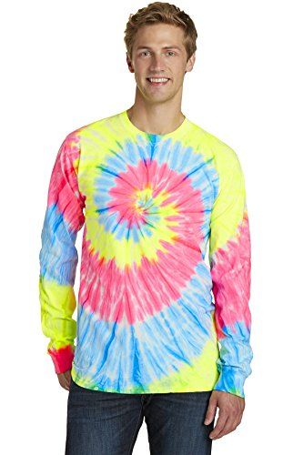 Neon Rainbow Tie Dye (Port & Company® Tie-Dye Long Sleeve Tee. PC147LS Neon Rainbow 4XL)