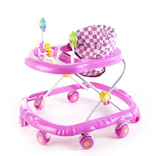 n Baby Walker Blau/Rosa/Orange 6-18 Monate Kind Anti-Überschlag Multifunktion Zusammenklappbar Mit Musik Große Räder Spielzeug Wagen 66 * 56 * 57 cm Für Neugeborene-Pink ()