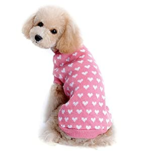 Angelof Amour Coeur Animal De Compagnie Chien Pull(Rose)