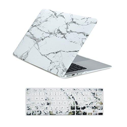 Top Fall-Marmor Muster Hard Case Cover + Tastatur Schutzhülle für MacBook Air + Topcase Maus Pad Marmorweiß MacBook Air 13