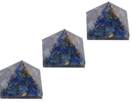 aatm Reiki energetisierte Chakra Heilung Lapis Lazuli Energetische Pyramide (2,5cm) mit Kristall klar Edelstein/EMF Schutz Meditation Yoga Energie Generator (Set von 3) (Intuition-geschenk-set)