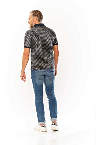 Poloshirt in trendigem Minimal Print von Kitaro ,grau melange Dunkelgrau