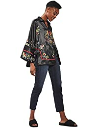 Topshop Black Embroidered Tokyo Fusion Kimono Jacket Coat Outerwear UK 12 EURO 40 US 8 - Brand New With Tags
