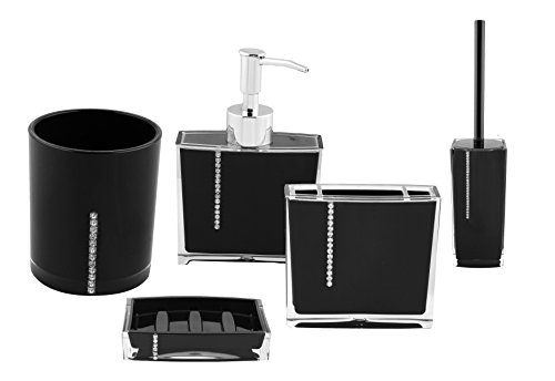 Diamond Acrylic Bathroom Accessory 5 Piece Set (Black) New Arrival Best Selling Premium Quality Lowest Price Sure To Complement Any Bathroom, Includes 1 Dustbin, 1 Toothbrush Holder, 1 Soap Dispenser, 1 Soap Dish & 1 Toilet Cleaner, Elegant, Stylish Unique Modern Design, Lightweight Gorgeous Exquisite Workmanship, Easy To Clean, Durable, Absolute Pleasure to Use, Long Lasting, Organize Your Bathroom, Bring Convenience to Your Daily Tasks, Easiest Inexpensive Way to Give Your Bathroom A New Look