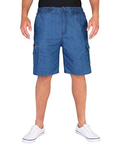 Blau Karierte Cargo-shorts (KRISP 7981-BLU-M: Herren Cargo Shorts (Blau, Gr.M))