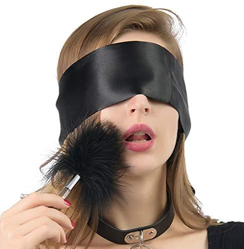 SM spielsatin Augenmaske Augenbinde mit Federkitzler Liebes Feder,BDSM Fetisch Bondage set Sex Spielzeug für Paare, Schwarz