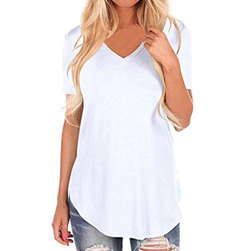 MRULIC Damen T-Shirt Top mit V-Kurzarm Ladies Sommer Shirt Wir Sind Unregelmäßig und Luftig - Sehr Angenehm Zu Tragen(Weiß,EU-36/CN-S)