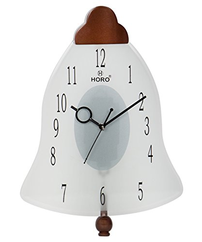 Horo Silent Movement Pendulum Glass Frame Wall Clock 35.56x35.56x5.7cm
