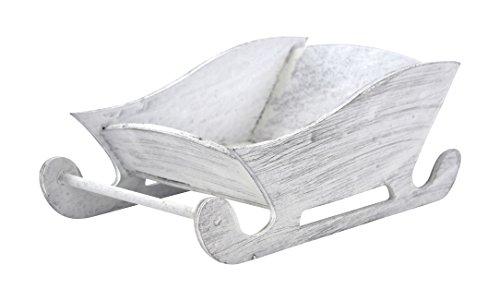 Deko Schlitten aus Holz 1 Stück weiß