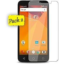 Funnytech@ [Pack de 2] Protector de Pantalla Cristal Templado para Vodafone Smart Turbo 7 l Calidad HD, Grosor 0,3mm, Bordes Redondeados 2,5D, Alta Resistencia a Golpes 9H. No Deja Burbujas En La Colocación (Incluye Instrucciones y Soporte en Español)