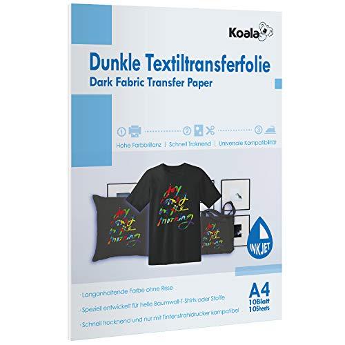 Koala DIN A4 Inkjet Transferpapier Transferfolie Bügelfolie für dunkle Textilien und Tintenstrahldrucker DIN 10 Blatt