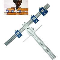 Yofe Guide de perçage en alliage d'aluminium pour cabinet de matériel Jig de tiroir Lot de outils de perçage chevilles Long Bois Ht1469