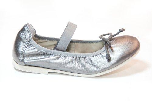 ACEBO´S acebos Leder Mädchen Ballerinas Schuhe mit Gummibund Platinum