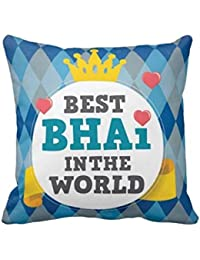 YaYa cafe 12X12 inches Birthday Gifts for Brother, Cushion Covers Best Bhai in The World