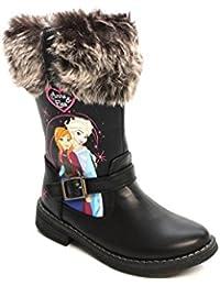 Frozen Mädchen Schwarz Wadenhoher Stiefel mit Pelzbund - Größe 10 Child UK / 28 EU - Schwarz Disney oC68zx9Kax