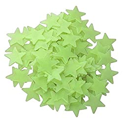 Youtaimei Satisfactory product 100pcs Glow in the Dark Star Stickers 3D Multicolor for Bedroom Celling Wall Decoration 3.8cm (Color : Fluorescence)