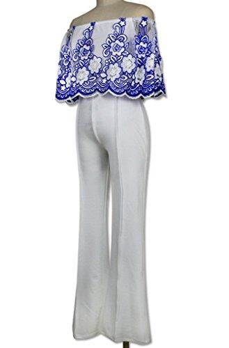 Smile YKK Combinaison Bustier Eté Femme Jumpsuit Ensemble One Pièce Pantalon Mariage Broderie Bleu
