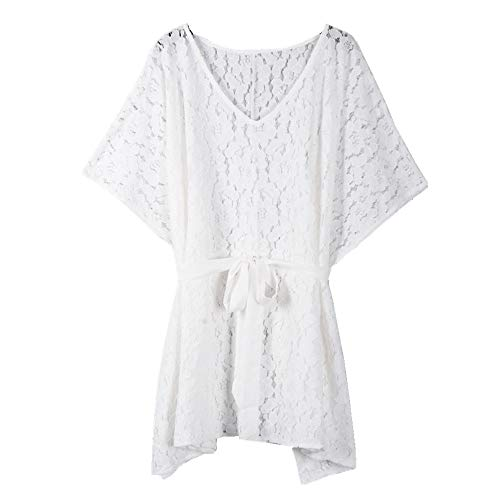 puseky Frauen Jacquard Belted Lace Dress V-Ausschnitt Strand Bikini Cover Up Kurzes Kleid (Color : White, Size : S) (Lace Dress Belted)