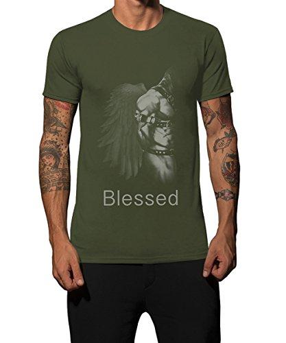 Iacobuccyounes Herren T-Shirt Militär-Grün