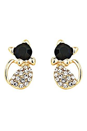 Pendientes - TOOGOO(R)Encanto Mujer Cristal de gato de amor Clavos de aleacion de diseno cristal del diamante de imitacion Joya de pendientes Negro