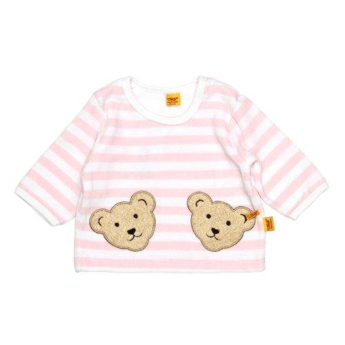 Steiff Unisex - Baby Sweatshirt, gestreift Doppelbären Shirt 0002891, Gr. 74, Rosa (barely pink 2560)