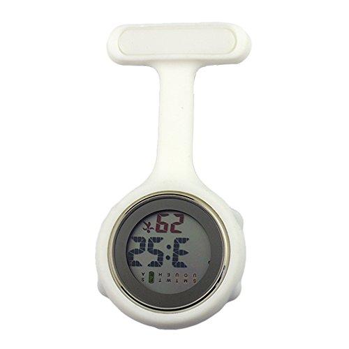 Krankenschwester Doktor Medical Staff Brosche Pocket Digital Hängende Uhr Reine Farbe Silikon Student Digital Watch(12 Farben) (Watch Clip Auf Gurt)