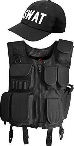 normani Taktische Einsatz Weste SWAT Patch mit Pistolenholster und SWAT Cap Tactical Vest Farbe Schwarz Größe M