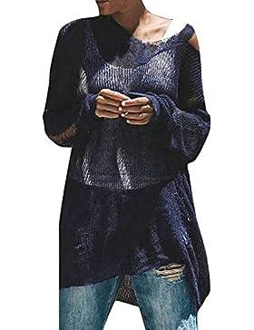[Patrocinado]Prendas de Punto,ZARLLE Oferta Liquidación Mujer Suéter Suelto Mujer Batwing Manga Jersey de Punto Mujeres Jumper...