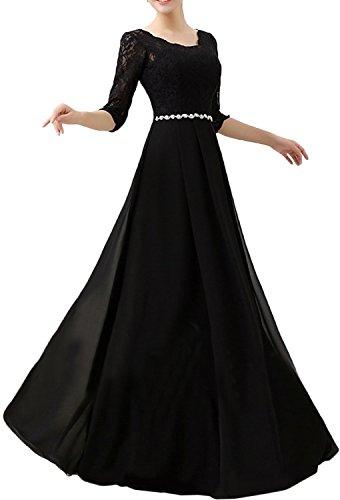 Gorgeous Bride Fashion Brautmutterkleider Lang Ärmel Chiffon Spitze A-Linie Abendkleider Lang Cocktailkleider Ballkleider Schokolade