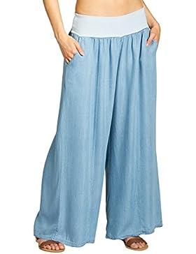 CASPAR KHS046 Pantalones de Harén de Mujer/Pantalones Largos de Estilo Culote para Verano