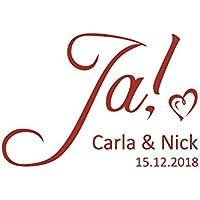Autoaufkleber Hochzeit Ja & Namen & Datum Motiv 02