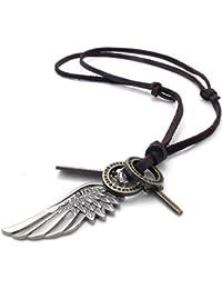 mendino joyas para hombre estilo vintage Ala de Ángel Colgante en forma de cruz de cuero collar cadena, color marrón plata (con bolsa de regalo)