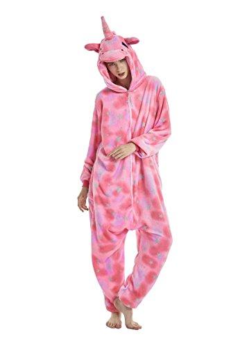 UMIPUBO Pijamas Unisexo Adulto Cosplay Traje Disfraz Adulto Animal Pyjamas Ropa de Dormir Halloween y Navidad Franela (XL:177-185cm, Unicornio Rosado)