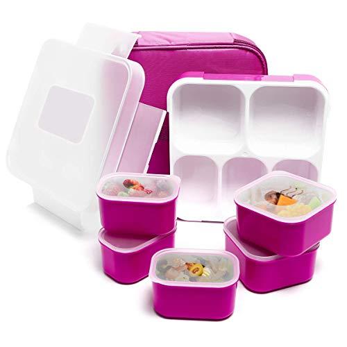 Fun Life Lunch Box mit 5 Fächern, isoliert, auslaufsicher, Vorbereitungsbehälter für Mahlzeiten, umweltfreundlich, wiederverwendbar für Männer, Frauen, Erwachsene, Kinder (lila) Bento-box