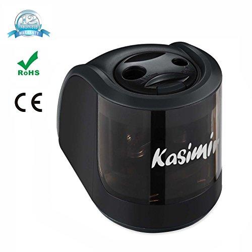 Sacapuntas Electrico Kasimir Profesional Automática Afilador 2 Diferentes Tamaños Agujero Eficiente Ideal para Hogar y Oficina Negro