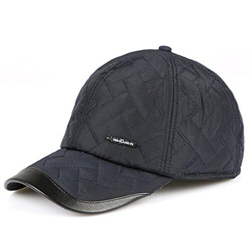 Kuyou Herren Wintermütze Cap mit Ohrenschutz und Fleece-Innenfutter (Blau) Fleece-visor Beanie