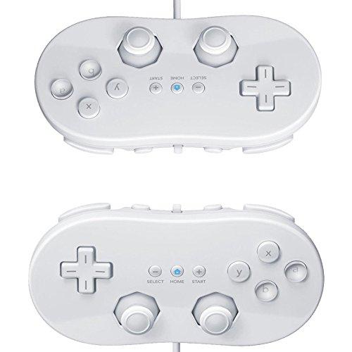 Classic Pro Controller für Nintendo Wii Fernbedienung, Weiß, 2 Stück (Emerson Fernbedienung)