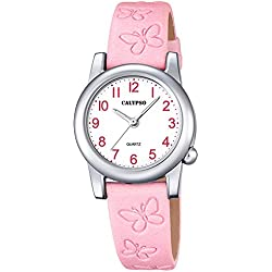 Calypso Kinder-Uhr Schmetterling Elegant analog Leder-Armband rosa Junior Quarz-Uhr Mädchenuhr UK5711/2