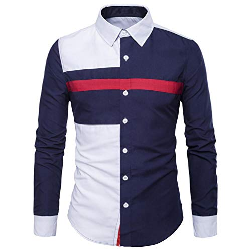 Homme Chemise,Sonnena Mode Casual Shirts Patchwork Tops Facile d entretien  Oxford Chemise Manches ea0cce75601