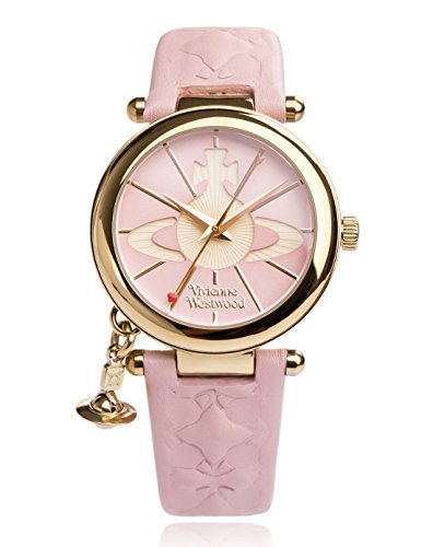 Vivienne Westwood Women's Orb II Quartz Watch with Pink Dial Analogue Display and Leather Strap VV006PKPK