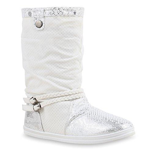 Bequeme Damen Stiefel Schlupfstiefel Lochungen Flache Boots Leder-Optik Metallic Schuhe Flandell Weiss Bexhilll